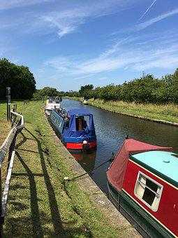 Canal, Barge, Boat, Water