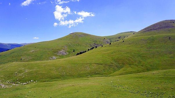 Meadows, Mountain, Green, Nature, Prairie, Blue, Sky