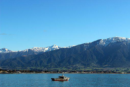 Sea, Mountains, New Zealand, Kaikoura, Landscape, Boot