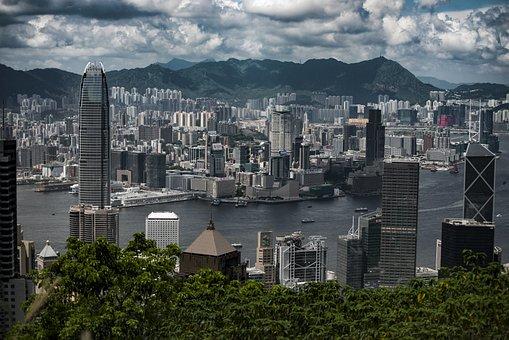 Hong Kong, Peak, Skyline, Sky, Clouds, Skyscraper