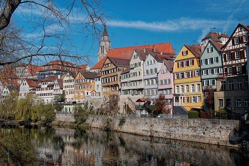 Tübingen, Homes, Facade, Blue, Sky, Water, Mirroring