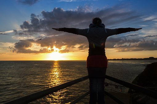 Titanik, Railing, Sunset, Freedom, Feeling, Fly, Float