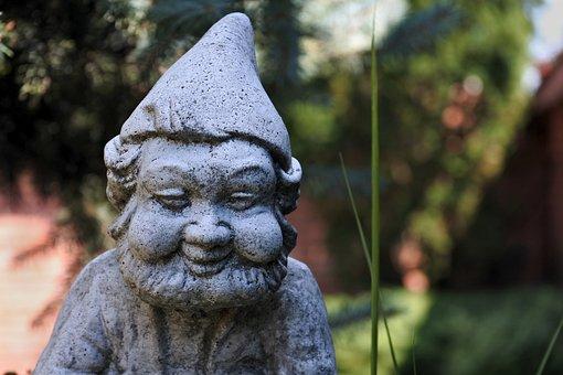 Dwarf, Elf, Garden, The Statue Of