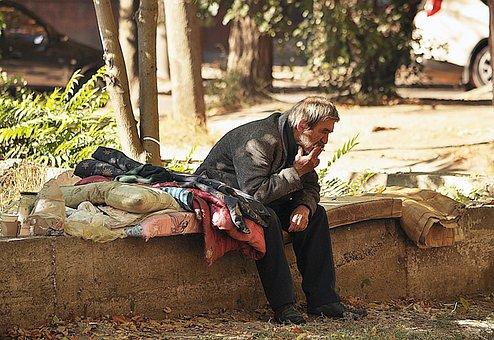 Homeless, Mattress, Smokes, Sitting