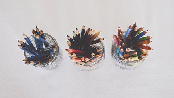 Art Supplies, Pencils, Top View, From Above, Jars, Art