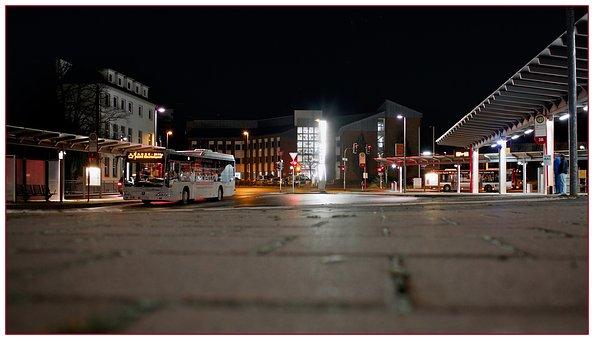 Railway Station, Night, Bus, Stop, Lighting, Railway