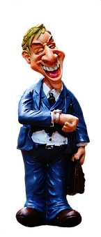 Businessman, Figure, Funny, On Time, Time Of