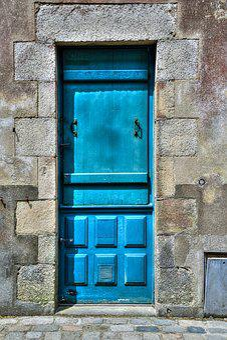 Door, Blue, Old, Pierre, Entry, Former