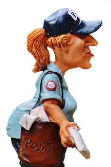 Mailwoman, Figure, Funny, Decoration, Post, Letters