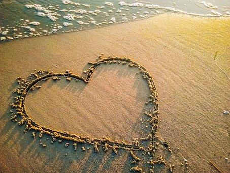 Heart, Love, Beach, Sand, Sea, Wave, Water, Symbol