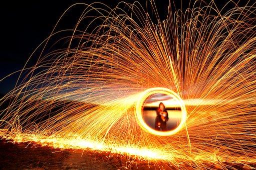 Steel Wool, Spinning, Fire, Steel, Wool, Sparks, Night