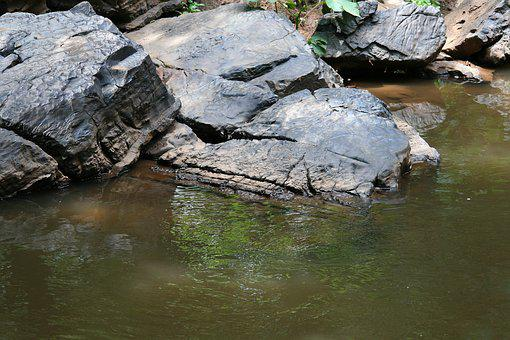 Rocks In Stream, Stream, Brook, Water, Rocks, Large