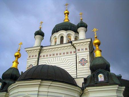Temple, Church, Gold, Dome, Orthodox, Cross, Crosses