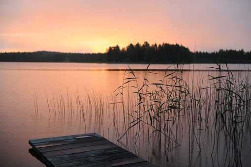 Summer Night, Norrland, Pink, Nature, Water, Sunset