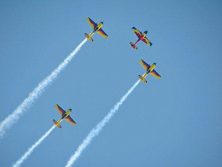 Aircraft, Plane, Air Show, Flight, Blue, Sky, Team