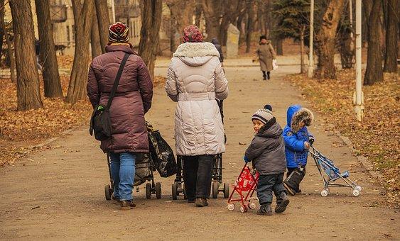 Park, Parents, Kids, Strollers, Walk, Autumn