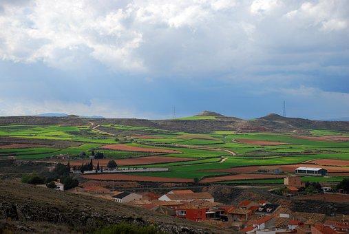 Landscape, Spain, Fields, Cultivation, People, Houses