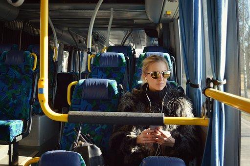 Bus, Girl, Earphones, Listening, Transport, Young