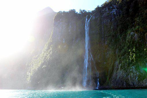 Waterfall, Sea, New Zealand, Milford Sounds, Nature