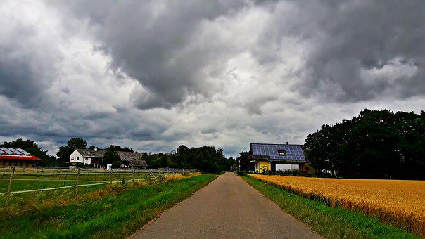 Field, Storm, Clouds, Way, Village, Cloud Cover