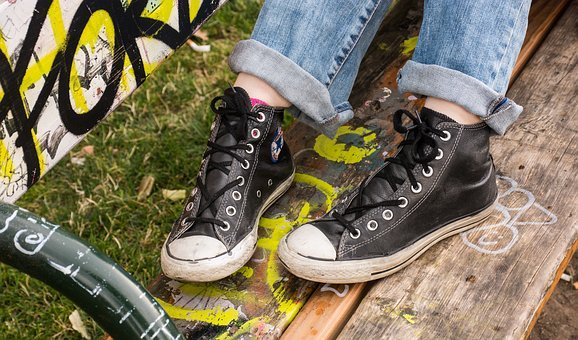 Converse, Shoes, Young People, Teenager, Graffiti