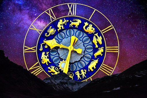 Starry Sky, Zodiac Sign, Clock, Dial Gold, Dial