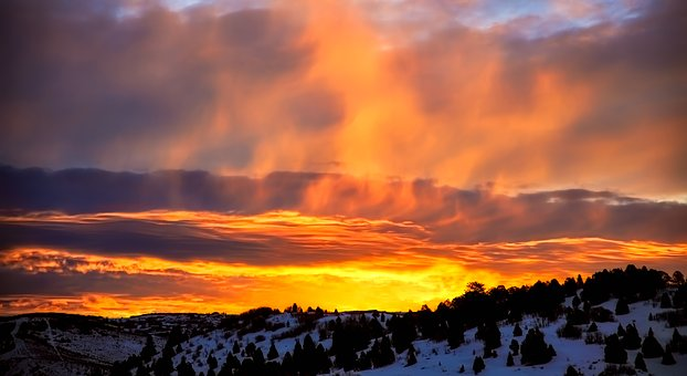 Utah, Mountains, Winter, Snow, Sunset, Dusk, Sky