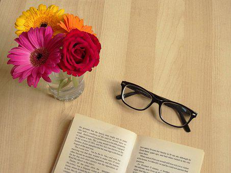 Book, Reading, Glasses, Flowers, Reading Book, Read