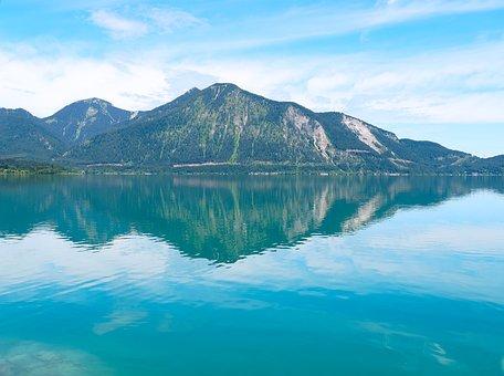 Lake, Walchensee, Bavaria, Germany, Alps, Landscape
