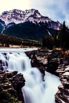 Athabasca Falls, Canada, Landscape, Mountains