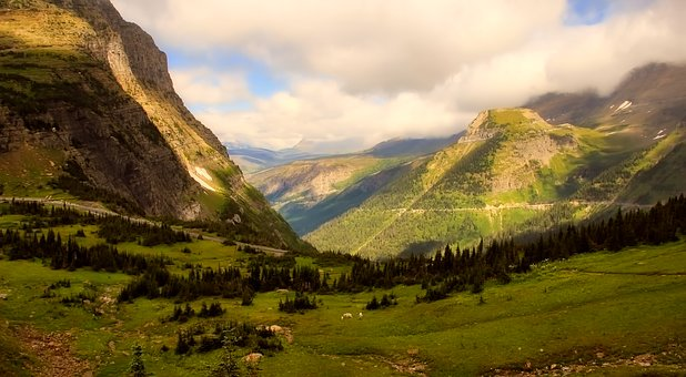 Mountains, Panorama, Sheep, Animals, Valley, Meadow
