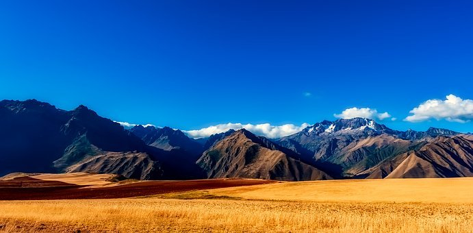 Peru, Mountains, Sky, Clouds, Panorama, Landscape