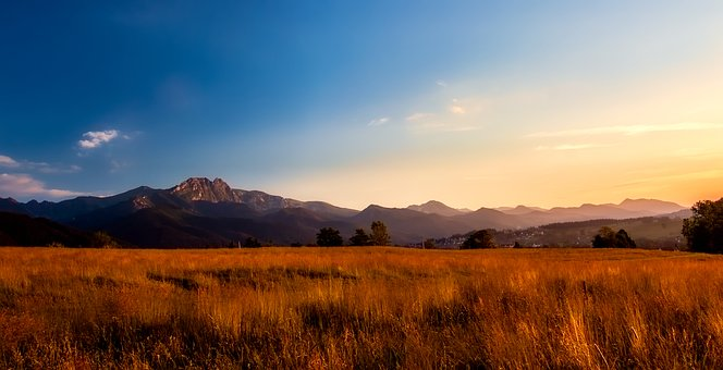 Mountains, Valley, Meadow, Field, Sunset, Sunrise, Sky