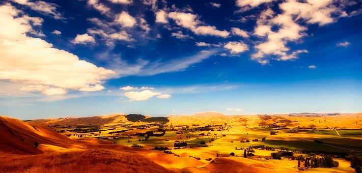 New Zealand, Landscape, Panorama, Sky, Clouds, Nature