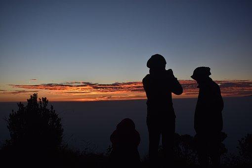 Silhouette, People, People Silhouettes, Sunrise