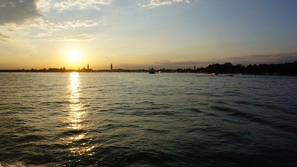 Sunset, Sky, Sea, Clouds, Sun, By The Sea