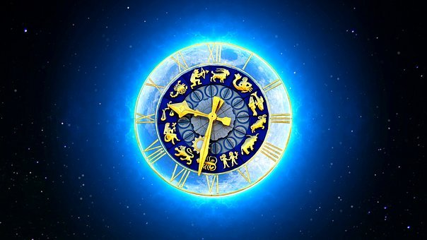 Zodiac Sign, Starry Sky, Clock, Moon