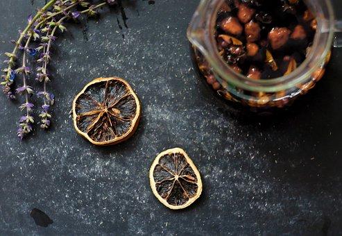 Lavender, Tea, Lemon, Table, Sunlight, Composition