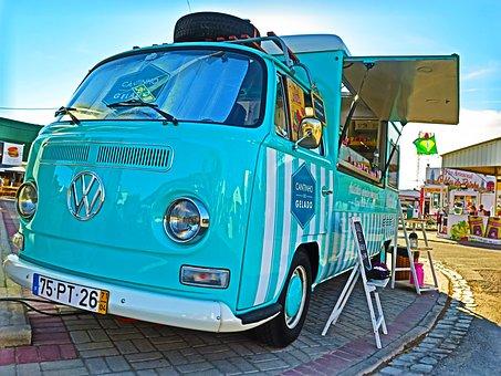 Vw, Van, Combi, Retro, Volkswagen, Ice Cream Truck