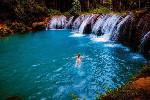 Waterfall, Falls, Cascade, Steam, Water, Lake, Swimmers
