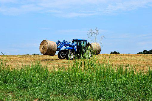 Bales, Hay, Tractor, Agriculture, Field, Straw, Harvest