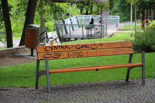 Bench, Graffiti, Park Bench, Park, Grass, Outdoors