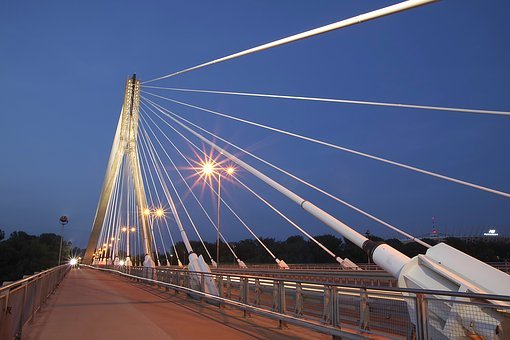 Bridge, Modern, Warsaw, Swietokrzyski Bridge, Night