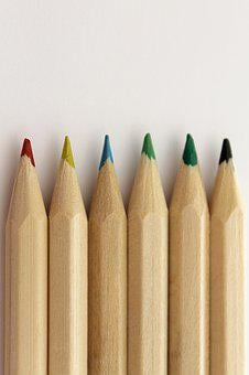 Pencil, Color, Blue, Rosa, Red, Wood, Orange, Yellow
