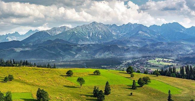 Mountains, Nature, Landscape, Sky, Green, Scenery