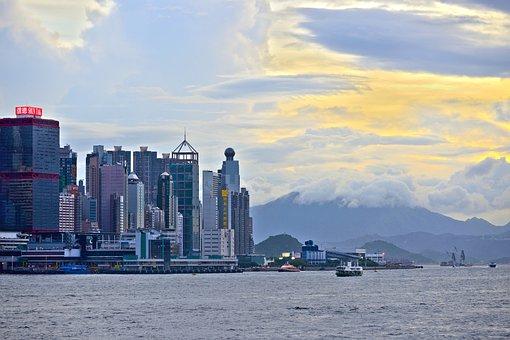 Hong Kong, Skyline, Water, Clouds, Sky, Skyscraper