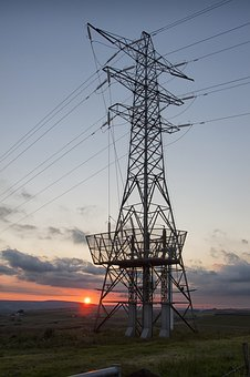 Pylon, Sunset, Energy, Sky, Power, Tower, Electric