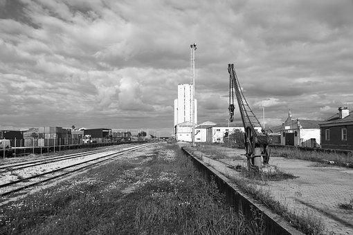 Train, Station, Crane, Platform, Elvas, Alentejo