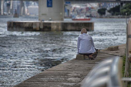 Hong Kong, River, Fischer, Angel, Fish, Fishing Rod