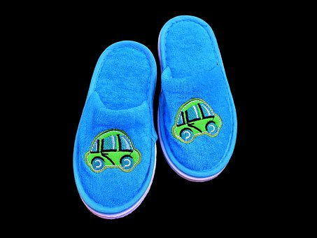 Slippers, Children, Funny, Motive, Blue, Boy, Fabric
